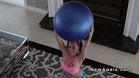 Teen girlfriend anal bangs on pilates ball