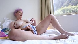 Yanks Vera Blue'_s Colorful Clothing And Hot Pussy Rubbing