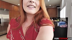 Crazy redhead MILF stepmom dropped down on her knees