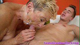 Hairy european grandma dicksucking and riding