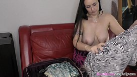 Hot big boobs brunette mature packing her bags for trip