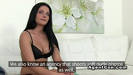 Fake agent bangs and cums on brunette beauty