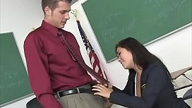 Teacher dreams in his office to get fucked by a nice looking, big boobs having schoolgirl