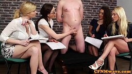 British babes jerking their sub in group