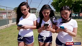SCAM ANGELS - American chicks Gina Valentina and Cindy Starfall scam their coach young cum eaters