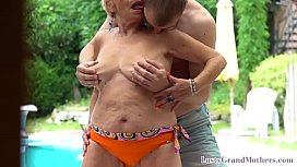 Bigtitted gilf tastes jizz after doggystyle