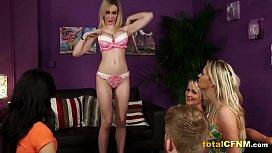 Four Stunning Bimbos Teasing a Naked Guy