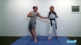 Ronda Rousey lookalike A a Cole training for UFC and Masturbating