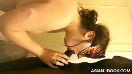 Masked asian babe sucks BBC