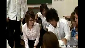 Hot japanese teacher teaches students to fuck