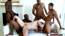 Blonde babe gangbanged by four black men
