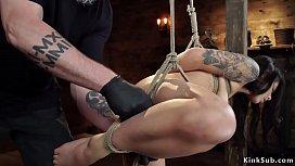Tattooed sub bamboo bondage suspension