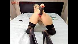 Blonde Girl Destory'_s her ass with a Big Black Dildo
