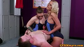 Busty british swimsuit babes tug in trio