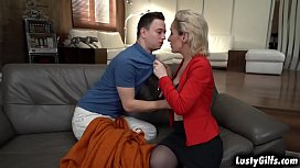 Mature woman Di Devi fucks a young stud to satisfy her needs and gags on his young meat