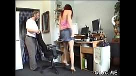 Striking redhead young hottie Jessica with great natural tits is fucked for hours