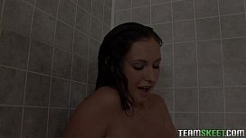 busty Bella Blaze getting rammed hard in the school shower room