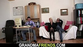 Skinny old blonde threesome