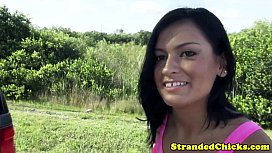 Stranded reality brunette sucks dick closeup