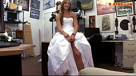 Bride to be pawns her wedding dress and nailed by pawn man