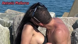 OMG she sucks my COCK ON THE BEACH (Antonio Mallorca)