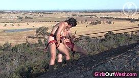 Girls Out West &ndash_ Hairy amateur lesbians climbing the rock