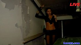 English lingerie milf licking before strapon
