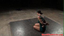 BDSM sub toyed by maledom using vibrator