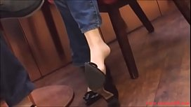 Candid Asian Extreme Shoeplay Dangling in Nylons Porn a