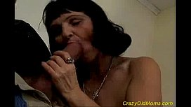 Crazy old mom takes huge cock