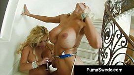 Busty Blonde Beauty Puma Swede Finger Bangs With Miss Stylez