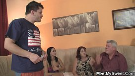 Brunette teen meeting with his family
