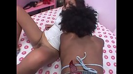 Lesbian ebony girls scissor each other in the bed room