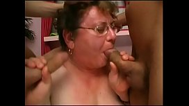 Fat grandma gets two cocks in her and cum on her reading glasses