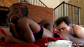 White slave licking a couple of black femdom babes