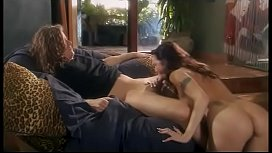 Dark-haired hoe gives head then gets her bald juicy muff dog fucked for cream