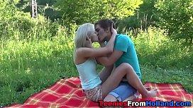 Blonde teen screw outside