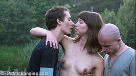 Outrageous PUBLIC sex gangbang threesome with a pretty girl sex image