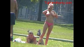 Blonde lady with big tits outdoors tightandho om