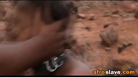 African girl is tied and fed to fuck horny and violent meneditass