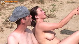 Real amateur threesome on the beach damplios