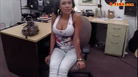 Latina chick hard banged by pawn man in the backroom
