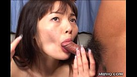 Sexy Asian babe double blowjob