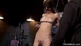 Hairy pussy skinny slave is tormented