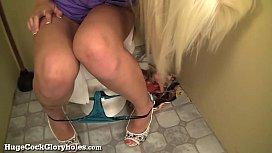 Blonde Babe Blows Stranger In Bathroom!