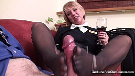 id 4149949: Pantyhose Footjob - Flight Attendants Little Black Book
