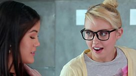 GIRLSWAY - The Fingerbang Theory With Nerd Lesbian Girls - Chloe Cherry, Kendra Spade and Aspen Romanoff