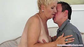 Randy mature grandma bends over for cock