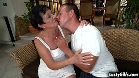Lusty granny Hettie makes out with this hot stud Rob that makes her mature pussy soaking wet and totally satisfied.