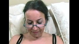 Hairy mature amateur with big tits loves young black cock and facials